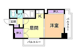パームコート旭川 2階1DKの間取り