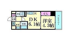 サムティガーデン江坂I 8階1DKの間取り