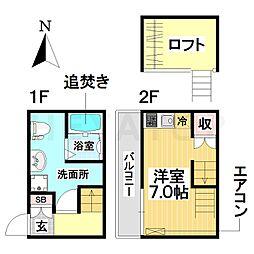 愛知県名古屋市南区本星崎町字町の賃貸アパートの間取り