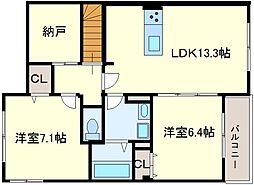 大阪府堺市中区八田北町の賃貸アパートの間取り