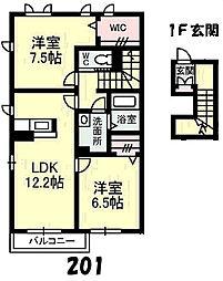 レジデンスTAKAO[A201号室]の間取り