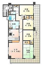 静岡県三島市加茂川町の賃貸マンションの間取り