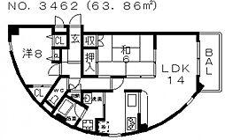 グレイシャス駒川[7階]の間取り