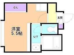 アンフィリット札幌 4階1Kの間取り