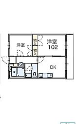 東京都日野市旭が丘5丁目の賃貸アパートの間取り