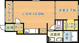 福岡県北九州市八幡西区町上津役西4丁目の賃貸アパートの間取り