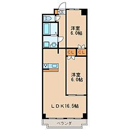 愛知県名古屋市東区主税町4丁目の賃貸マンションの間取り