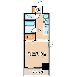 リヴェール白壁 6階1Kの間取り