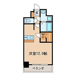 プレサンス栄ブリオ 6階ワンルームの間取り