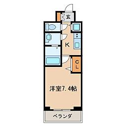 プレサンス栄ブリオ 8階1Kの間取り