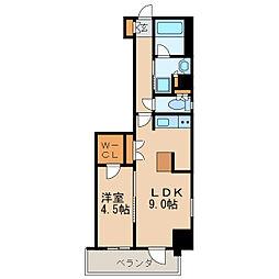 エステムプラザ名古屋丸の内 12階1LDKの間取り