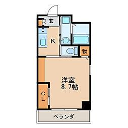 KAYA AOI 2階1Kの間取り