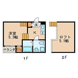 フェリーチェ新栄 1階1Kの間取り