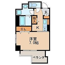 プレサンス丸の内リラティ 9階1Kの間取り