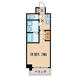 プレサンス栄フェル 9階1Kの間取り