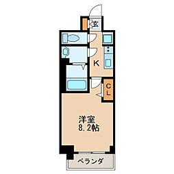 プレサンス丸の内アデル 6階1Kの間取り