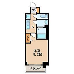 プレサンス丸の内アデル 4階1Kの間取り