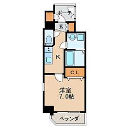エステムコート名古屋新栄IIIグローリィ 12階1Kの間取り