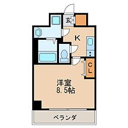 レジデンシア泉I 4階1Kの間取り