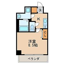 レジデンシア泉I 9階1Kの間取り