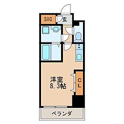 レジデンシア泉II 5階ワンルームの間取り
