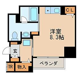 パークアクシス新栄 13階ワンルームの間取り