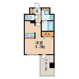アドバンス名古屋モクシー 2階ワンルームの間取り