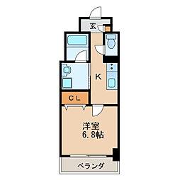 アクアエテルナ泉 3階1Kの間取り