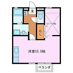 三重県鈴鹿市白子駅前の賃貸アパートの間取り