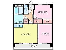 三重県鈴鹿市阿古曽町の賃貸マンションの間取り