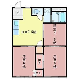 三重県亀山市亀田町の賃貸アパートの間取り