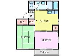 三重県鈴鹿市平田2丁目の賃貸アパートの間取り