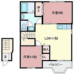 グランドールK II棟[2階]の間取り