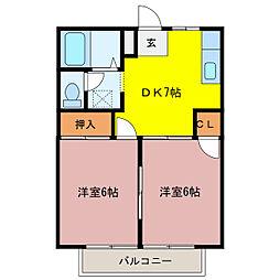 シティハイツTOMO A棟[2B号室]の間取り