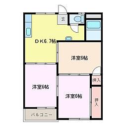 三重県鈴鹿市平田東町の賃貸アパートの間取り