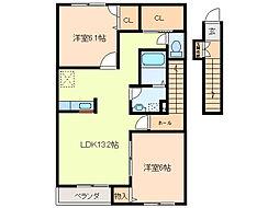 三重県鈴鹿市平田新町の賃貸アパートの間取り