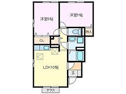 三重県亀山市高塚町の賃貸アパートの間取り