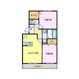 メルべーユMII[2階]の間取り