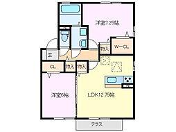 クラベールA棟[1階]の間取り