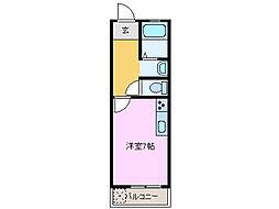 コーポ三重ハウス[207号室]の間取り