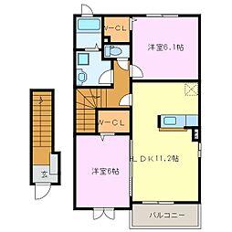 グレイスメゾンMI[2階]の間取り