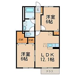 和歌山県岩出市中迫の賃貸アパートの間取り