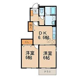 YKハドソン小田B 1階2DKの間取り