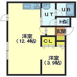 北海道函館市湯川町2丁目の賃貸アパートの間取り