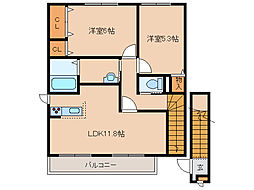 北海道函館市川原町の賃貸アパートの間取り
