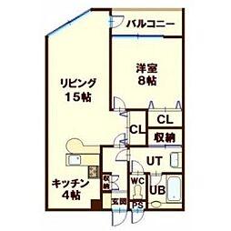 北海道函館市谷地頭町の賃貸マンションの間取り