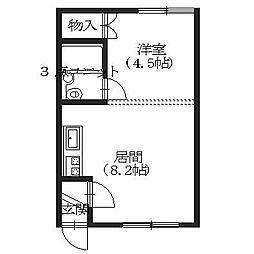 北海道函館市昭和3丁目の賃貸アパートの間取り