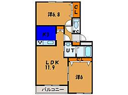 北海道亀田郡七飯町本町1丁目の賃貸マンションの間取り