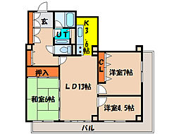 北海道函館市梁川町の賃貸マンションの間取り
