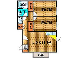 北海道北斗市東浜2丁目の賃貸アパートの間取り